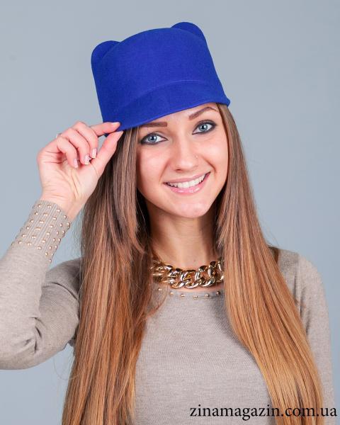 Шляпка с ушками синяя