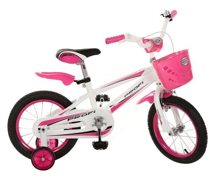 Велосипед PROFI детский 16д. 16RB-1 (1шт) розов,полная защита цепи,корзина,прист колеса,