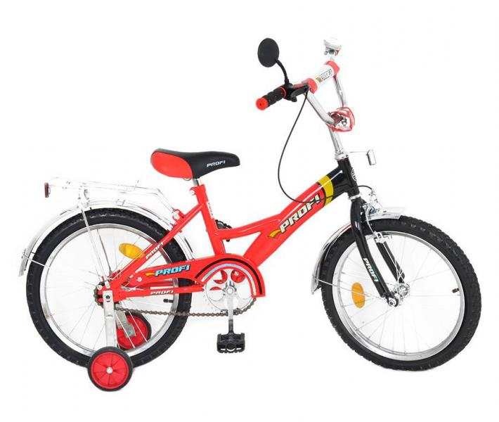 Велосипед PROFI детский 18 д. P 1836 (1шт) красно-черный, звонок,приставные колеса