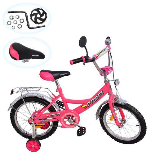 """Велосипед PROFI детский 18д. P 1844A (1шт)каретка""""америк."""",улучш.сид.,прист.кол.,зерк.,звон.,розовый"""