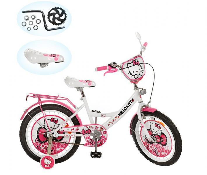 Велосипед детский 18д. HK 0076 (1шт) HK, розово-белый, в кор-ке, 76,5-46,5-17см