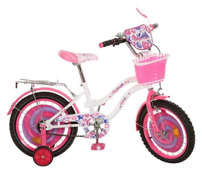 Велосипед детский PROF1 мульт 16д. PC1663G (1шт) Candy,бело-розов,цвет педали,корзина,
