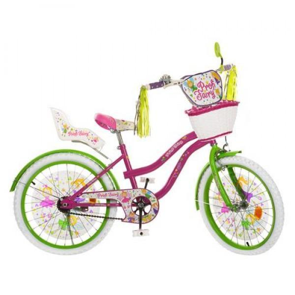 Велосипед детский PROF1 мульт 16д. PF1666G (1шт) Fairy,фиол-зел,бел колеса,корзина,сид для кук