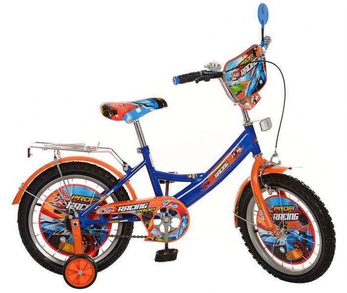 Велосипед детский PROF1 мульт 16д. PR1643 (1шт) Racing,оранж-синий,зеркало,звонок,