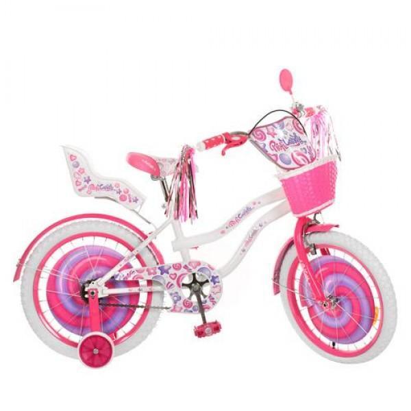Велосипед детский PROF1 мульт 18д. PC1863G (1шт) Candy,бело-розов,бел колеса,корзина,сид для кук
