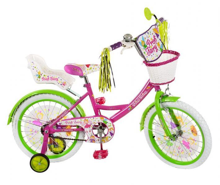 Велосипед детский PROF1 мульт 18д. PF1856G (1шт) Fairy,фиол-зел,бел колеса,корзина,сид для куклы