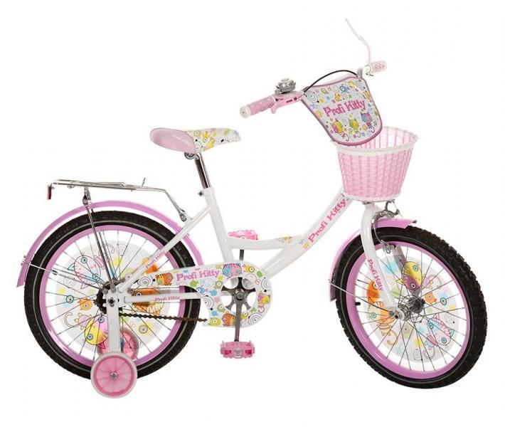 Велосипед детский PROF1 мульт 18д. PK1854G-B (1шт) Kitty,бело-роз,цвет педали,корзина,