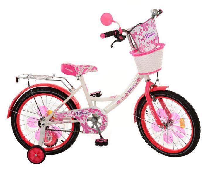 Велосипед детский PROF1 мульт 18д. PW1852G (1шт) Flower,бело-малин,цвет педали,корзина,
