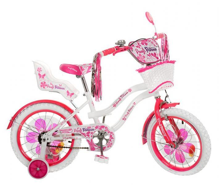 Велосипед детский PROF1 мульт 18д. PW1862G (1шт) Flower,бело-малин,бел колеса,корзина,сид для кук