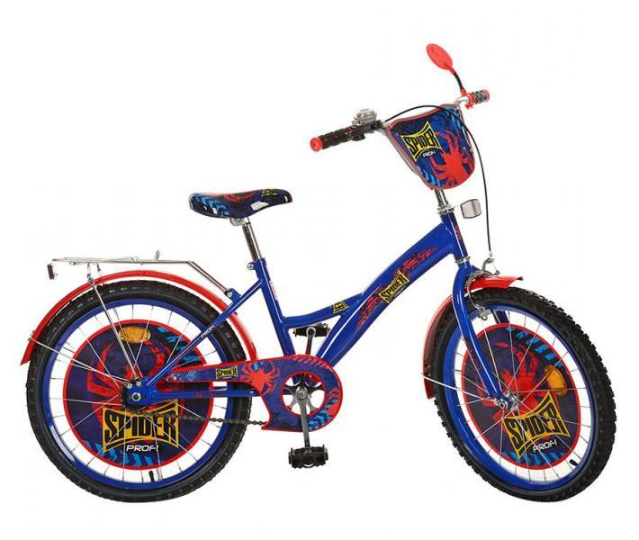 Велосипед детский PROF1 мульт 20д. PS2031 (1шт) Spider,сине-черный,зеркало,звонок,