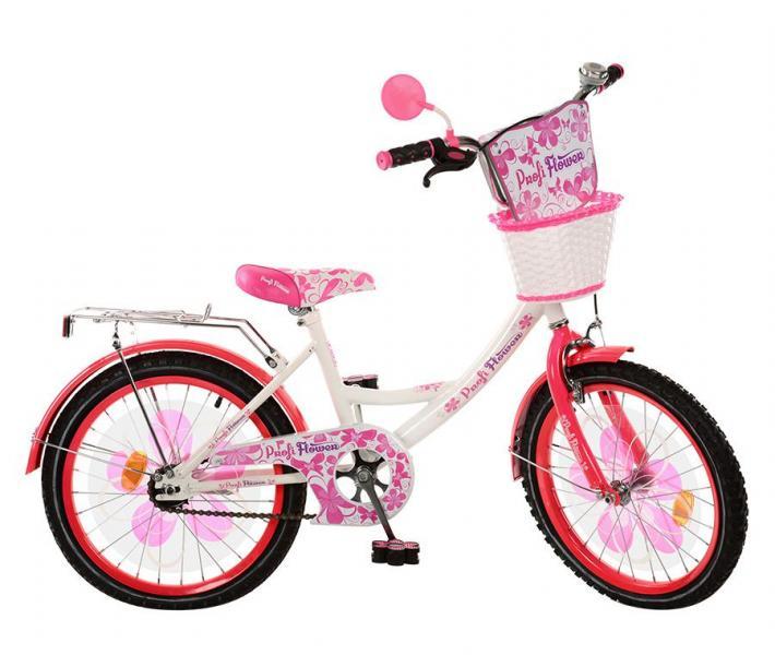 Велосипед детский PROF1 мульт 20д. PW2052G (1шт) Flower,бело-малин,цветн педали,корзина,