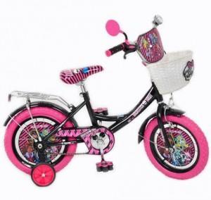 Велосипед детский мульт 12д. P 1257 MH-P (1шт) MH,корзина,фигурные педали, розовая резина,93-60-50см