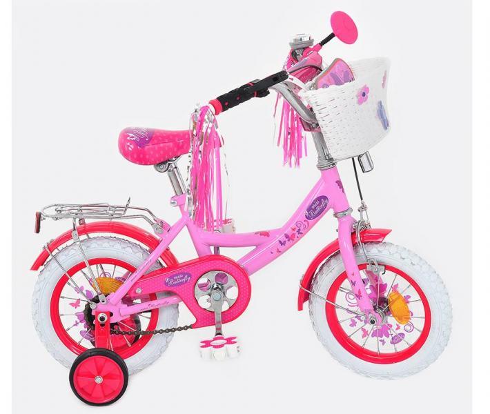 Велосипед детский мульт 16 д. P1656F-W (1шт)Бабочка 2NEW,бел колеса,бел педали,корзина,кисточки на р