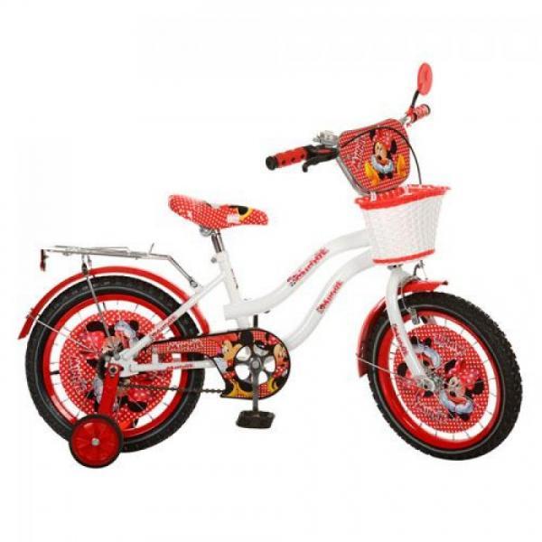 Велосипед детский мульт 16д. MI167 (1шт) DM,бело-красн,зеркало,звонок,корзина,в кор-ке, 69-41-16см