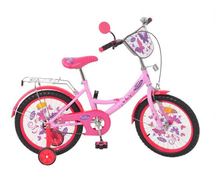 Велосипед детский мульт 18 д. P 1856 F-B (1шт) Бабочка 2 NEW, розово-малиновый