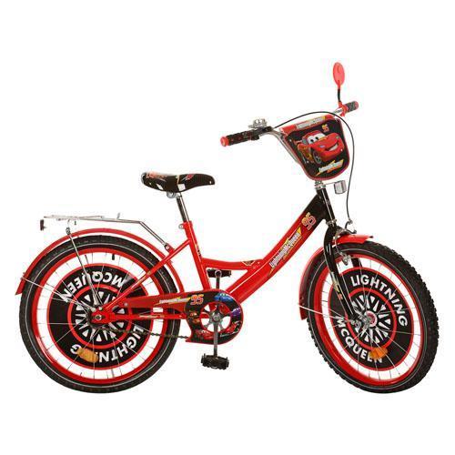 Велосипед детский мульт 20д. CS201 (1шт) ТЧ,красно-черный,зеркало,звонок,в кор-ке, 81-50-16см