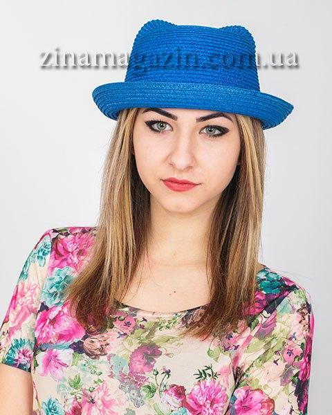 Летняя шляпка с ушками синяя