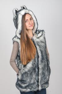 Фото Меховая жилетка с капюшоном и ушками Меховая жилетка с капюшоном и ушками -  Хаски