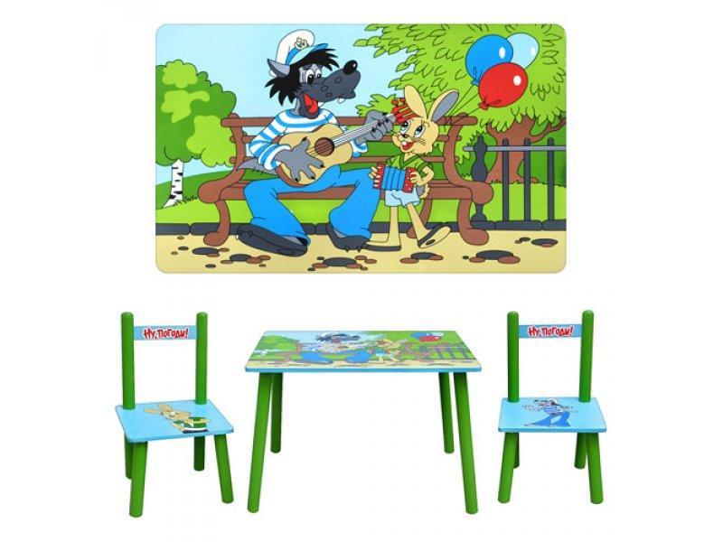 Столик M 1433 (5шт) Ну Погоди, деревянный, 2 стульчика, в кор-ке, 60-42-23см