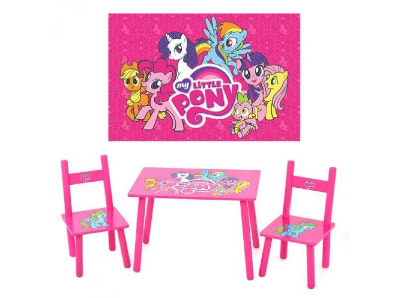 Столик M 1522 (5шт) Розовый пони, деревянный, 2 стульчика, в кор-ке, 59,5-39,5-23см
