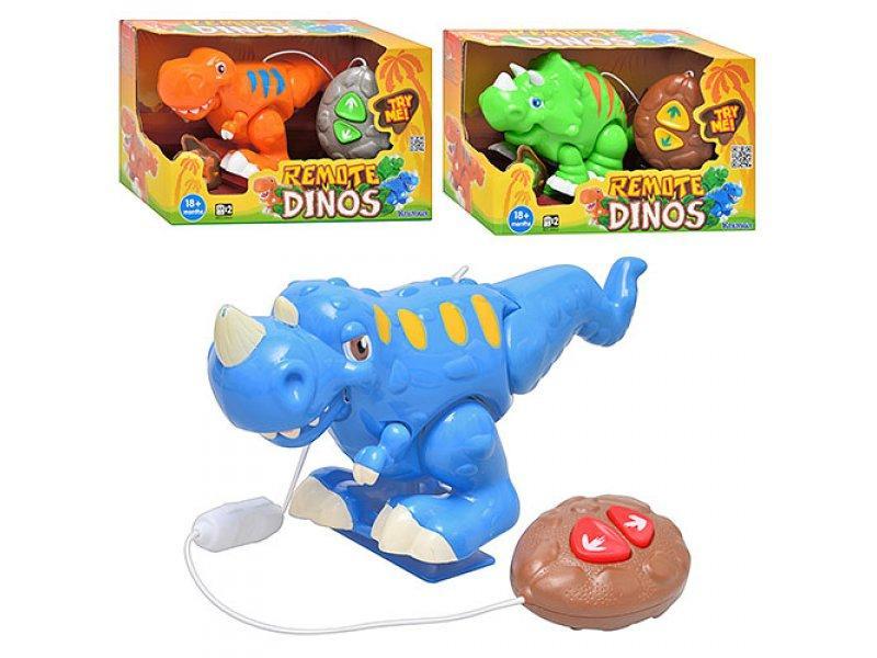 Динозавр 13415-7 (12шт) д/у, 3 вида, звук, на бат-ке, в кор-ке, 26,5-12,5-13см