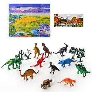 Фото Игрушки, Фигурки разные             Динозавр 282 (48шт) 12шт, игровое поле, растения, в кульке, 35-25,5-7см