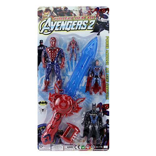 Супергерои 116-2 (36шт) 4шт(3шт-свет), меч 49,5см(звук,свет,на бат-ке), на листе, 31,5-63-6см