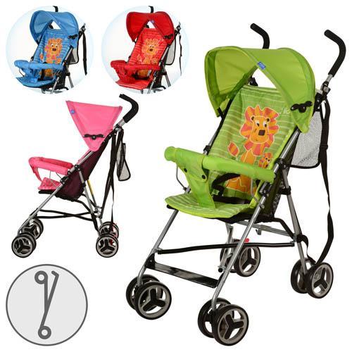 Коляска детская M 2716 (6шт) прогулочная,львенок,колеса 8шт,4цвета(роз,красн,зелен,голуб)
