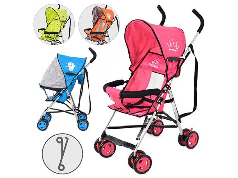 Коляска детская RAMETTO S5-2 (4шт) прогулочная,4 цвета (малинов.,зелен.,оранж.,голуб.), колеса 8 шт,