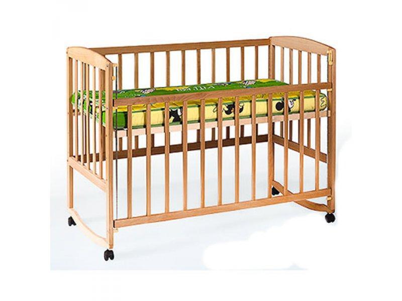 Кровать для детей 1004 (1шт) деревянная (бук), качалка/колеса, боковиина опускается, 124-65,5-85см