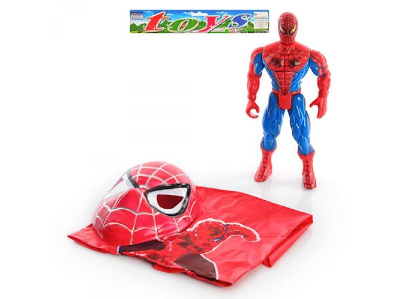 Спайдермен 010 A (96шт) фигурка супергероя 30см, свет, маска, плащ, в кульке, 31-33-9см