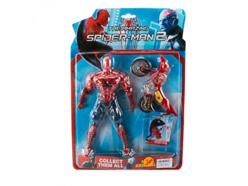 Супергерой TBG 110114 (60шт) СП, фигурка шарнирная 25см,мотоцикл 14-8см, 3вида,на листе,42-28-5см