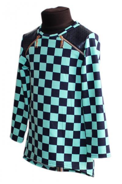 Туника для девочки с кожаными вставками р.116-134