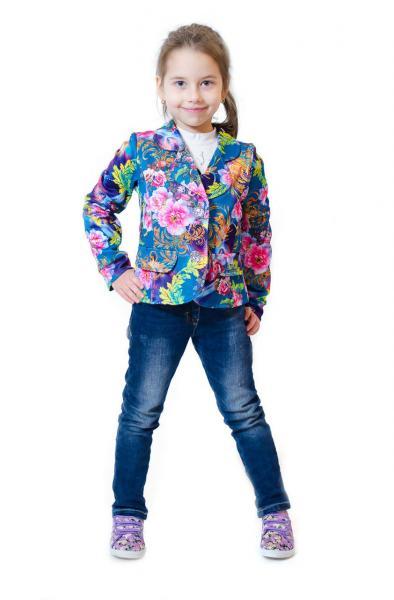 Пиджак детский цветочный принт р.116-140