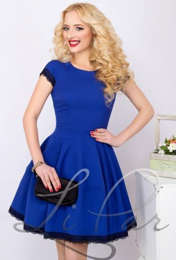 Красивое синее платье с пышной юбкой (672)