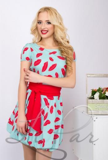 Платье с пышной юбкой и ярким поясом (347)