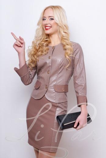 Женский костюм с кожаным пиджаком (416) Беж