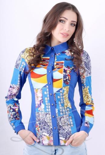 Женская рубашка из замши (2059) Синий