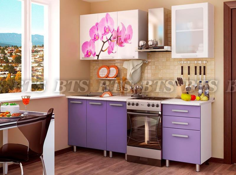 Кухня Орхидея 1,6м (цвет:фиолетовый глянец)(BTS МЕБЕЛЬ)