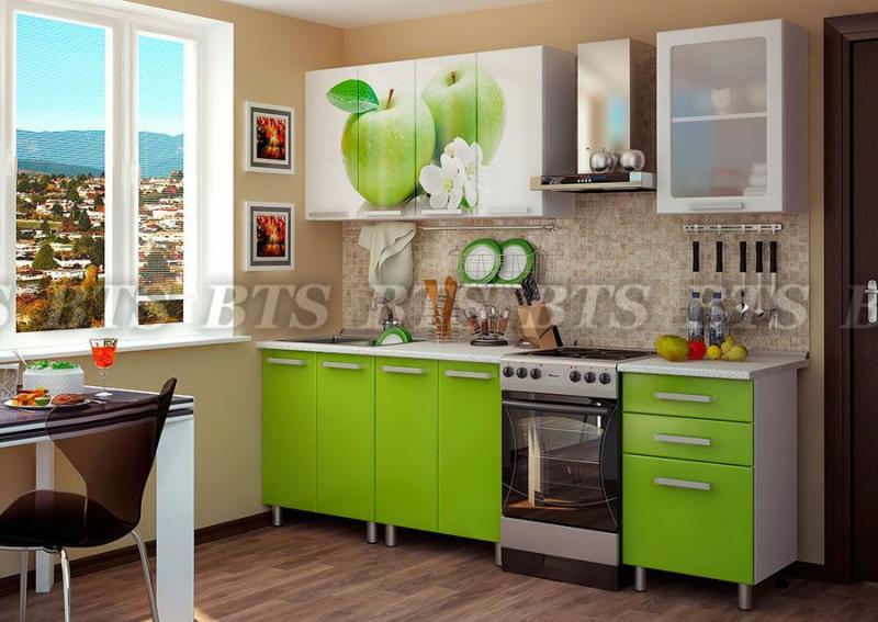 Кухня Яблоко 1,8м (цвет:лайм глянец)(BTS МЕБЕЛЬ)