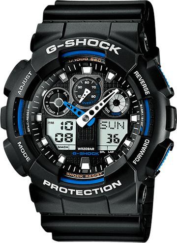 Часы G-shock GA-100, черно-синие
