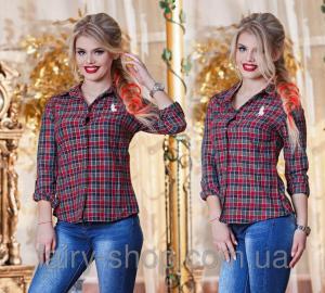 Фото Блузки, Рубашки Рубаха клетка №р0138