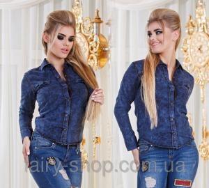 Фото Блузки, Рубашки Рубашка джинс №р2900