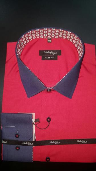 Рубашка Slim Fit комбинированная