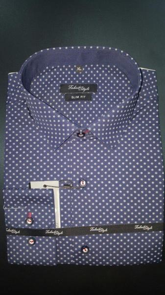 Рубашка Slim Fit тёмно-синяя с рисунком