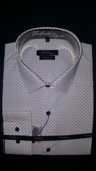 Рубашка Slim Fit белая с рисунком