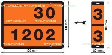 Табличка рельефная «Опасный груз» бензин/дизель  Размер 400х300