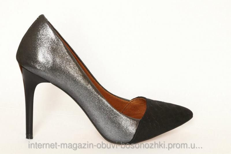 Женские туфли чёрный сатин+чёрный питон
