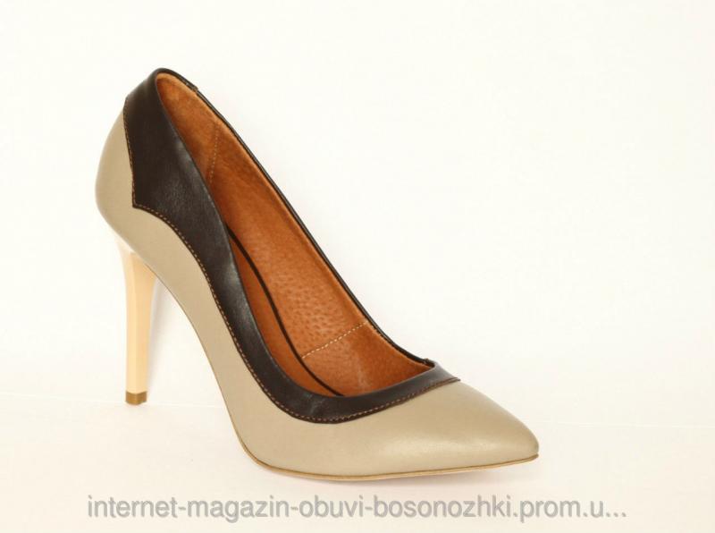 Женские туфли бежевая кожа+коричневая кожа