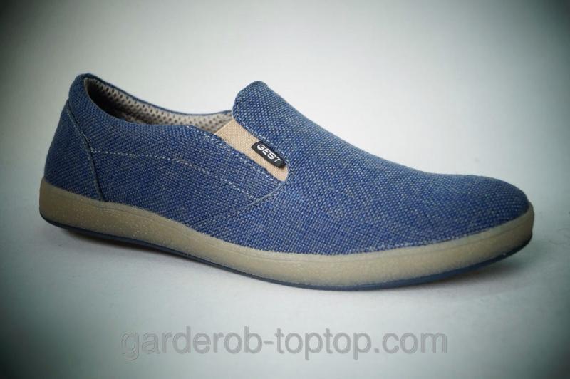 Мужские слипоны синий джинс